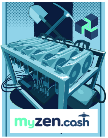 6x GPU Mining Rig for ZenCash with myzen.cash Logo