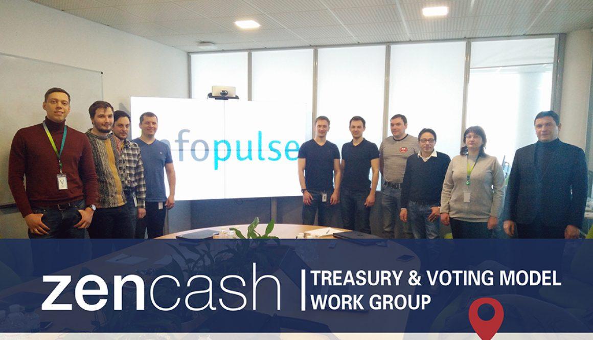 zencash treasury and voting model work group in kiev ukraine with infopulse and iohk